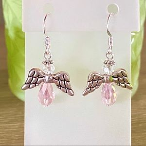 Angel Earrings-Handmade-Pink-NEW